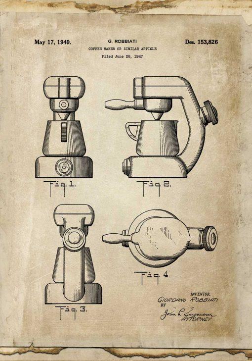 Plakat - Reprodukcja rysunku z ekspresem do kawy do jadalni