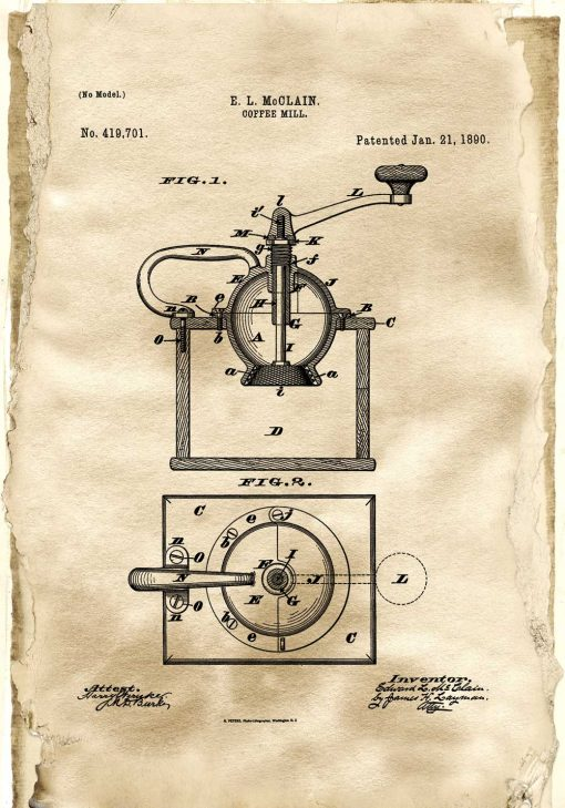 Plakat - Rysunek opisowy młynka do kawy do kuchni
