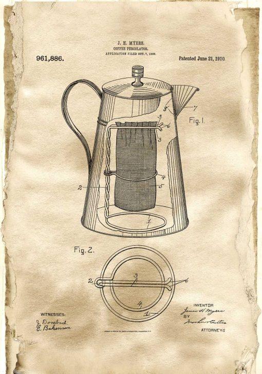 Rysunek opisowy kawiarki - Plakat vintage dla baristy