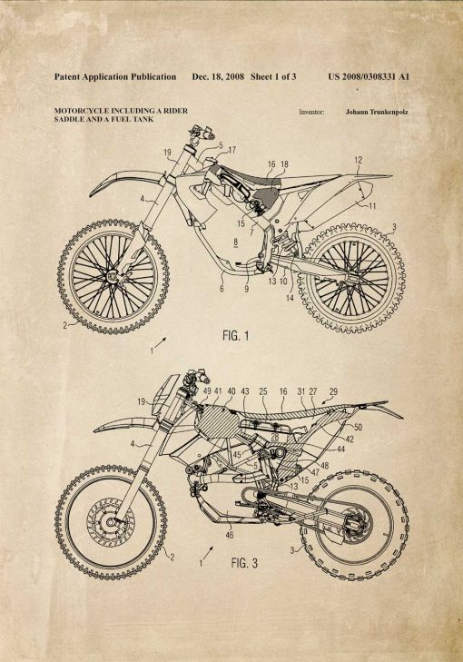 Plakat retro ze schematem budowy motocykla terenowego