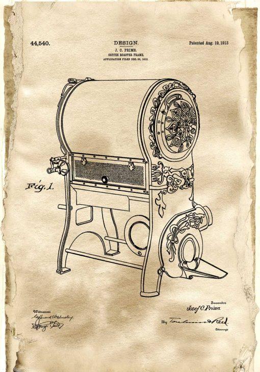 Plakat dla baristy - Patent na urządzenie do prażenia kawy na prezent