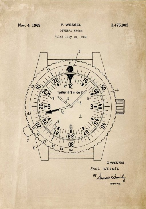 Plakat w sepii patent na zegarek wodoszczelny