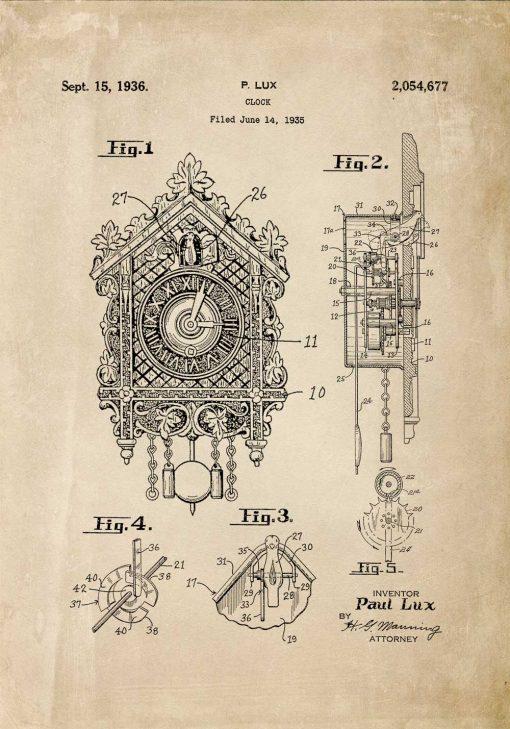 Poster dla kolekcjonera z patentem na zegar z kukułką
