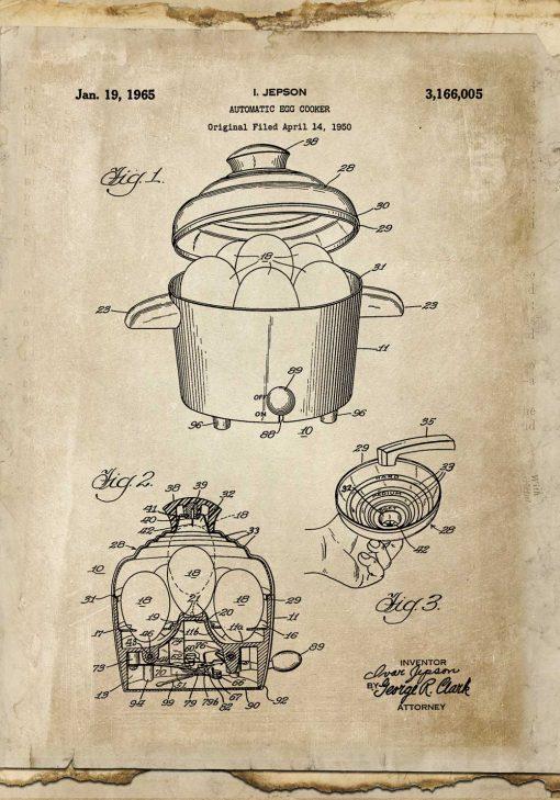 Plakat z prototypem urządzenia do gotowania jajek