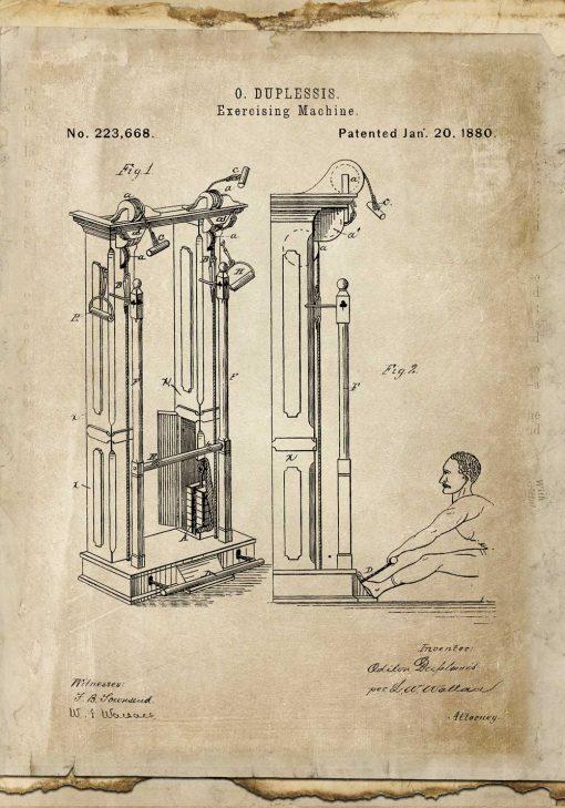 Plakat ze schematem budowy maszyny do ćwiczeń