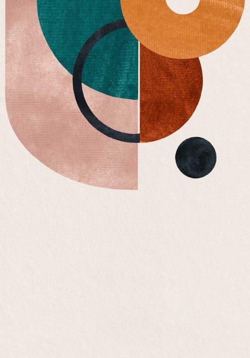 Plakat z okręgami i półokręgami do dekoracji poczekalni