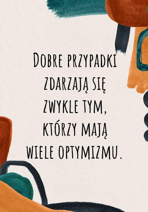 Abstrakcyjny plakat z sentencją o optymistach na prezent