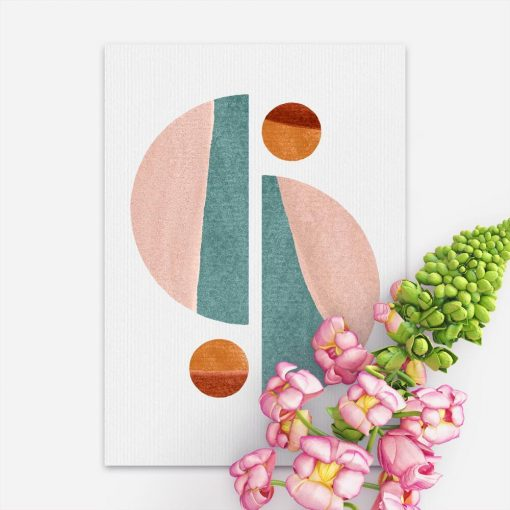 Plakat z z pastelowymi bryłami geometrycznymi do dekoracji poczekalni