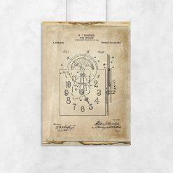 Plakat z patentem na zegar mechaniczny do salonu