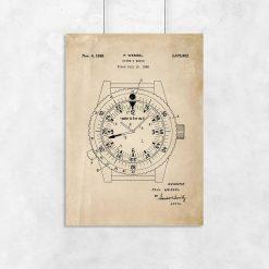 Plakat retro z patentem na zegarek wodoszczelny