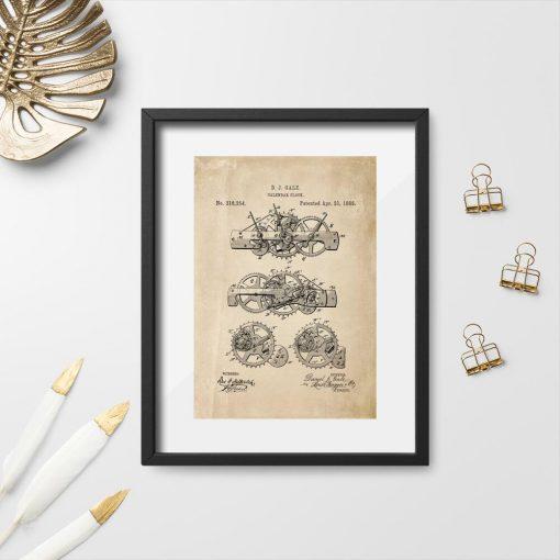 Plakat w sepii z patentem na budowę kalendarza