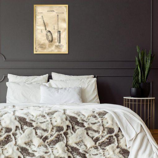 Plakat z rysunkiem opisowym szczotki do sypialni
