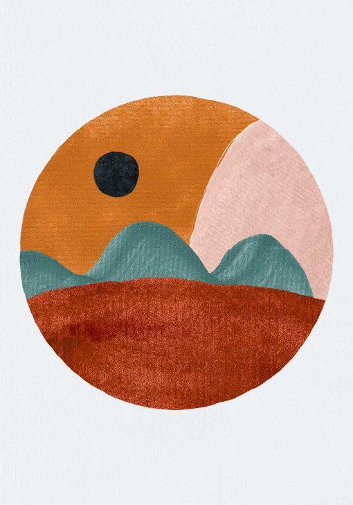 Plakat z brązowo - beżową abstrakcją do salonu