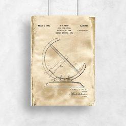 Plakat z rysunkiem patentowym zegara - Reprodukcja do salonu