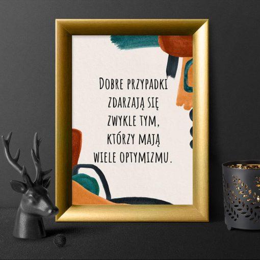 Abstrakcyjny plakat z sentencją o optymistach do gabinetu