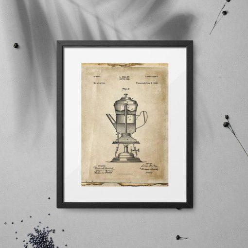Plakat patent na ekspres do kawy w kolorze sepii