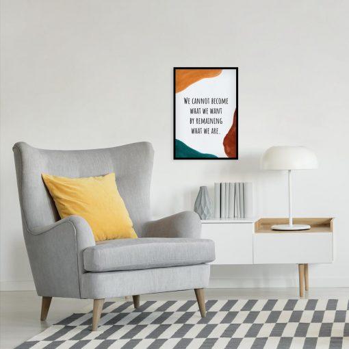 Typograficzny plakat z pomarańczową plamą do czytelni