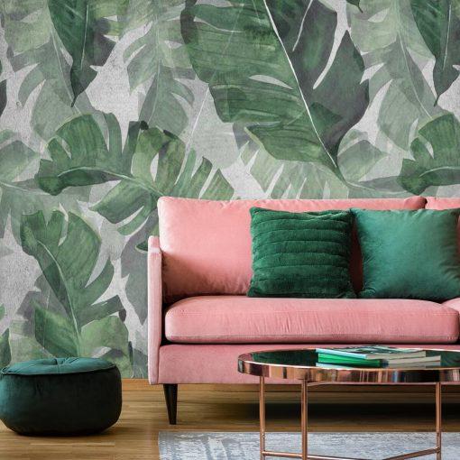 Zielona foto-tapeta z motywem tropikalnych liści