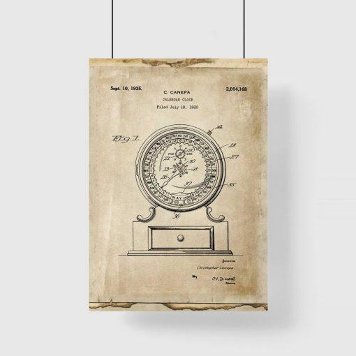 Plakat z kalendarzem z starym stylu