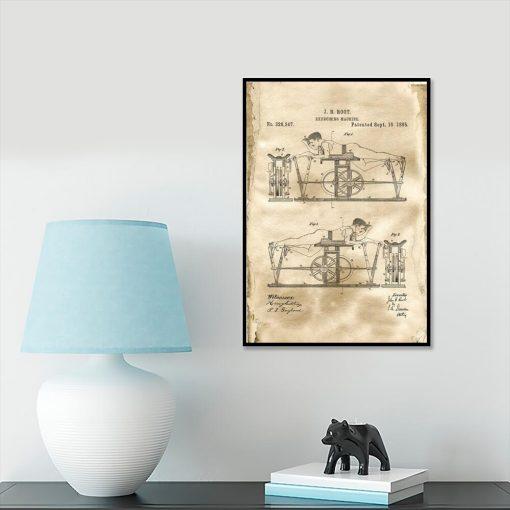 Poster z patentem na urządzenie do ćwiczeń na przedpokój