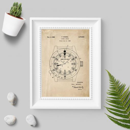 Plakat ze schematem budowy na zegarek dla nurka