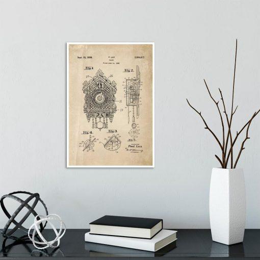 Poster dla kolekcjonera z patentem na zegar z kukułką na przedpokój