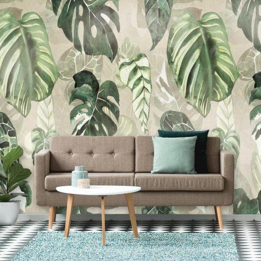 Fototapeta z zielonymi liśćmi do salonu