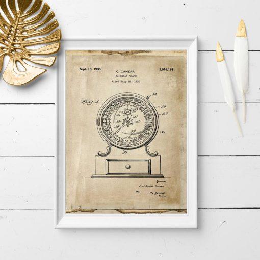 Plakat z ryciną kalendarza - patent 1930r.