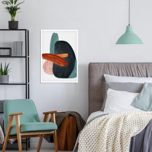 Plakat artystyczny z grafitową plamą do sypialni