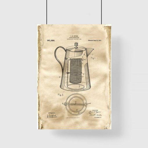 Rysunek opisowy kawiarki - Plakat vintage do jadalni