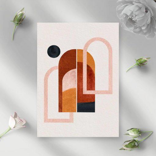 Plakat z abstrakcyjnymi oknami i kropką do ozdoby korytarza