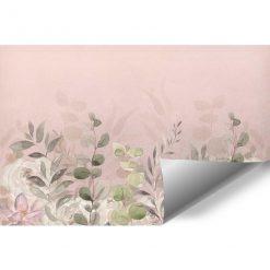 Różowa fototapeta w liście do pokoju