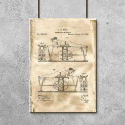 Poster z patentem na urządzenie do ćwiczeń do salonu