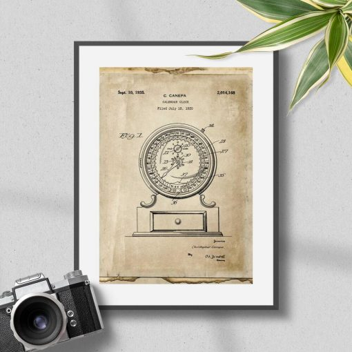 Plakat vintage z ryciną mechanicznego kalendarza