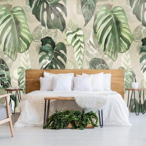 Fototapeta z zielonymi liśćmi do pokoju