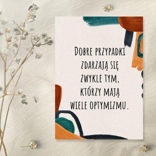 Abstrakcyjny plakat z sentencją o optymistach do sypialni