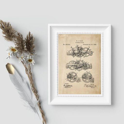 Plakat w sepii z koncepcją mechanizmu do ruchomego kalendarza