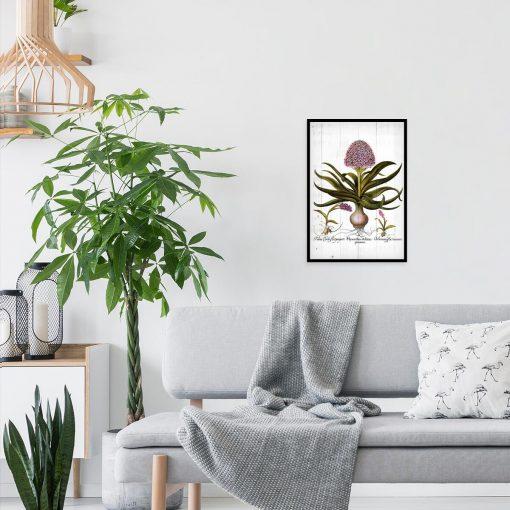 Plakat z kwiatami na deskach do salonu