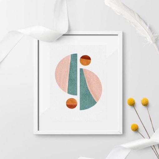 Plakat z pastelowymi figurami geometrycznymi do powieszenia w biurze