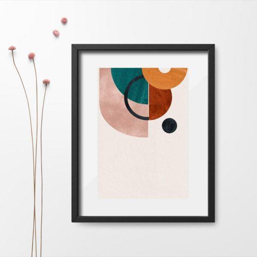 Plakat z geometrycznymi kształtami