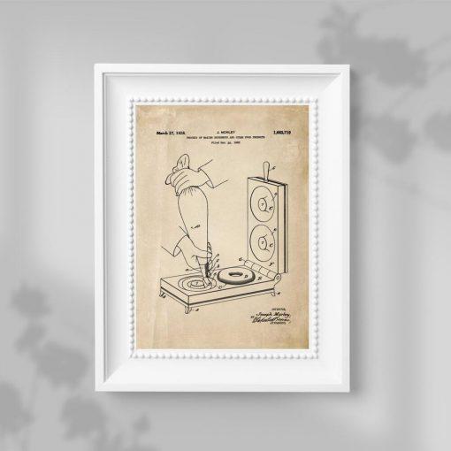 Plakat vintage z urządzeniem do smażenia pączków