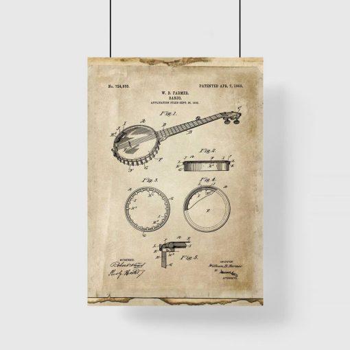 Plakat retro z rysunkiem banjo do gabinetu