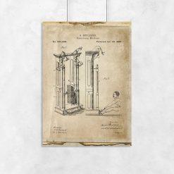 Plakat ze starym rysunkiem maszyny do ćwiczenia