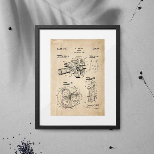 Plakat z ryciną kamery filmowej - patent