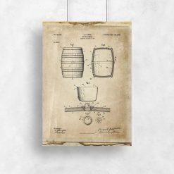 Plakat z reprodukcją rysunku opisowego beczki do dekoracji ściany