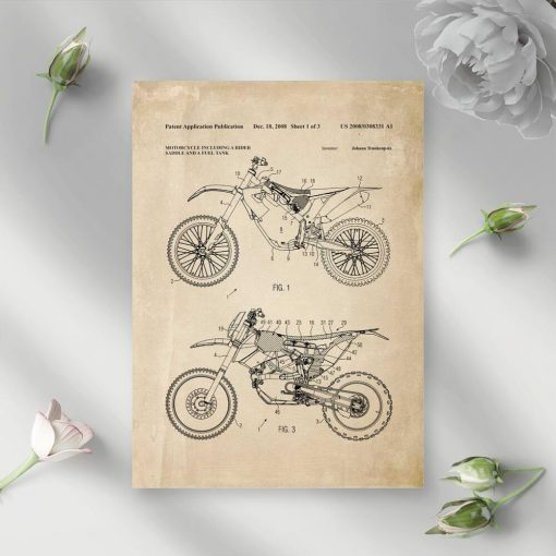 Plakat w sepii z projektem motocykla