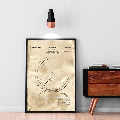 Plakat z rysunkiem patentowym zegara - Reprodukcja do sypialni