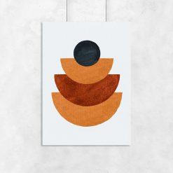 Plakat z figurami geometrycznymi w brązach do ozdoby biura
