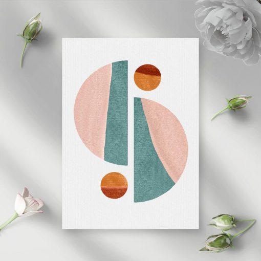 Plakat pastelowy z bryłami geometrycznymi do powieszenia w poczekalni