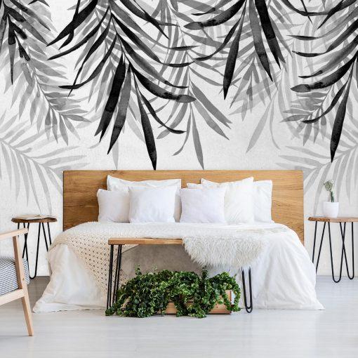 Tapeta z gałązkami palmy w szarym kolorze